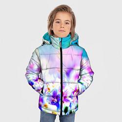 Куртка зимняя для мальчика Цветочное поле цвета 3D-черный — фото 2