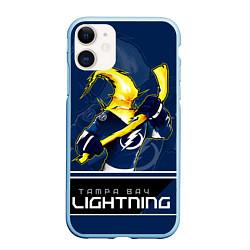 Чехол iPhone 11 матовый Bay Lightning цвета 3D-голубой — фото 1