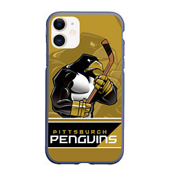 Чехол iPhone 11 матовый Pittsburgh Penguins цвета 3D-серый — фото 1