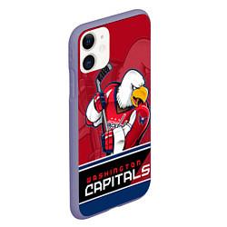 Чехол iPhone 11 матовый Washington Capitals цвета 3D-серый — фото 2