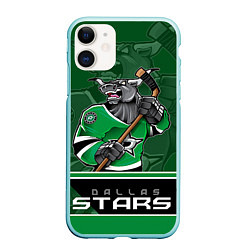 Чехол iPhone 11 матовый Dallas Stars цвета 3D-мятный — фото 1