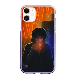 Чехол iPhone 11 матовый Виктор Цой в ночи цвета 3D-светло-сиреневый — фото 1