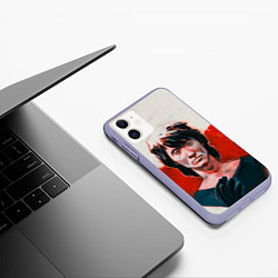 Чехол iPhone 11 матовый Молодой Цой цвета 3D-светло-сиреневый — фото 2