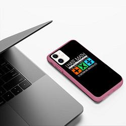 Чехол iPhone 11 матовый Ed Sheeran: I hate math цвета 3D-малиновый — фото 2