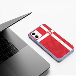 Чехол iPhone 11 матовый Сборная Сербии цвета 3D-светло-сиреневый — фото 2