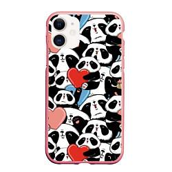 Чехол iPhone 11 матовый Милые панды цвета 3D-баблгам — фото 1
