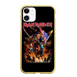 Чехол iPhone 11 матовый Iron Maiden: USA Warriors цвета 3D-желтый — фото 1