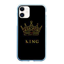 Чехол iPhone 11 матовый KING цвета 3D-голубой — фото 1