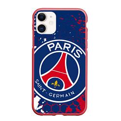 Чехол iPhone 11 матовый ФК ПСЖ FC PSG PARIS SG цвета 3D-красный — фото 1