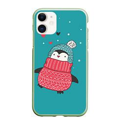 Чехол iPhone 11 матовый Пингвинчик цвета 3D-салатовый — фото 1