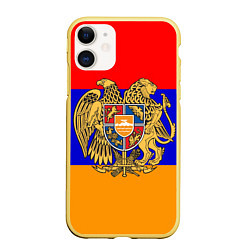 Чехол iPhone 11 матовый Герб и флаг Армении цвета 3D-желтый — фото 1