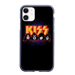 Чехол iPhone 11 матовый KISS: Death Faces цвета 3D-серый — фото 1