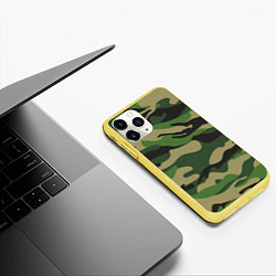 Чехол iPhone 11 Pro матовый Камуфляж: хаки/зеленый цвета 3D-желтый — фото 2