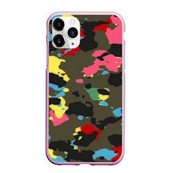 Чехол iPhone 11 Pro матовый Цветной камуфляж цвета 3D-розовый — фото 1