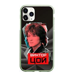 Чехол iPhone 11 Pro матовый Виктор Цой цвета 3D-салатовый — фото 1