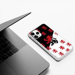 Чехол iPhone 11 Pro матовый Лев герба Нидерландов цвета 3D-белый — фото 2