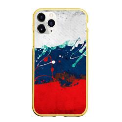 Чехол iPhone 11 Pro матовый Триколор РФ цвета 3D-желтый — фото 1