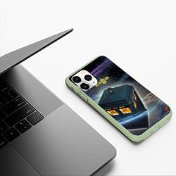 Чехол iPhone 11 Pro матовый Police Box цвета 3D-салатовый — фото 2