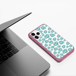 Чехол iPhone 11 Pro матовый Бриллианты цвета 3D-малиновый — фото 2