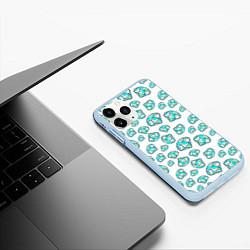 Чехол iPhone 11 Pro матовый Бриллианты цвета 3D-голубой — фото 2