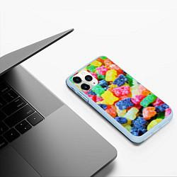 Чехол iPhone 11 Pro матовый Мармеладные мишки цвета 3D-голубой — фото 2
