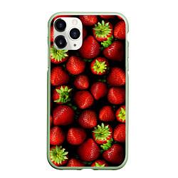 Чехол iPhone 11 Pro матовый Клубничка цвета 3D-салатовый — фото 1