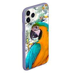 Чехол iPhone 11 Pro матовый Летний попугай цвета 3D-серый — фото 2