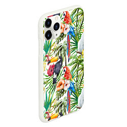 Чехол iPhone 11 Pro матовый Попугаи в тропиках цвета 3D-белый — фото 2