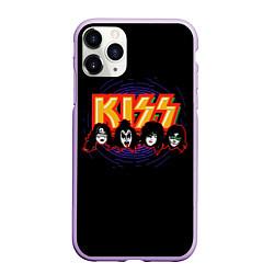 Чехол iPhone 11 Pro матовый KISS: Death Faces цвета 3D-сиреневый — фото 1