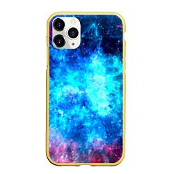 Чехол iPhone 11 Pro матовый Голубая вселенная цвета 3D-желтый — фото 1