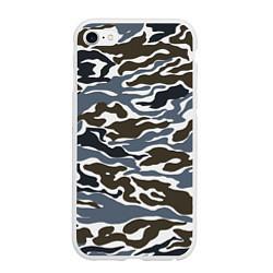 Чехол iPhone 6/6S Plus матовый Камуфляж зимний: болотный/синий цвета 3D-белый — фото 1