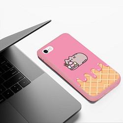 Чехол iPhone 6/6S Plus матовый Pusheen Ice Cream цвета 3D-баблгам — фото 2