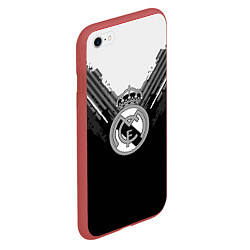 Чехол iPhone 6/6S Plus матовый FC Real Madrid: Black Style цвета 3D-красный — фото 2