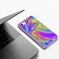 Чехол iPhone 6/6S Plus матовый Цветные разводы цвета 3D-сиреневый — фото 2