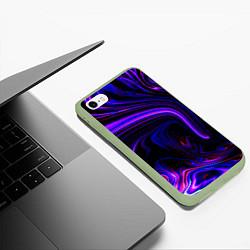 Чехол iPhone 6/6S Plus матовый Цветные разводы цвета 3D-салатовый — фото 2