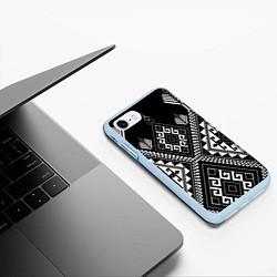 Чехол iPhone 7/8 матовый Индейские мотивы цвета 3D-голубой — фото 2