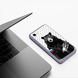Чехол iPhone 7/8 матовый Армейский медведь цвета 3D-серый — фото 2
