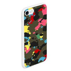 Чехол iPhone 7/8 матовый Цветной камуфляж цвета 3D-белый — фото 2