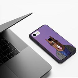 Чехол iPhone 7/8 матовый Конь БоДжек цвета 3D-черный — фото 2