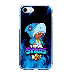Чехол iPhone 7/8 матовый BRAWL STARS LEON SHARK цвета 3D-голубой — фото 1