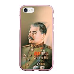 Чехол iPhone 7/8 матовый Иосиф Сталин цвета 3D-розовый — фото 1