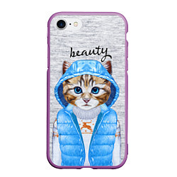 Чехол iPhone 7/8 матовый Модная киска цвета 3D-фиолетовый — фото 1