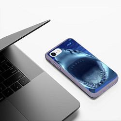 Чехол iPhone 7/8 матовый Белая акула цвета 3D-серый — фото 2