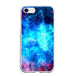 Чехол iPhone 7/8 матовый Голубая вселенная цвета 3D-белый — фото 1