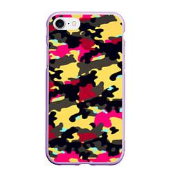 Чехол iPhone 7/8 матовый Камуфляж: желтый/черный/розовый цвета 3D-сиреневый — фото 1