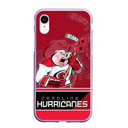 Чехол iPhone XR матовый Carolina Hurricanes цвета 3D-светло-сиреневый — фото 1