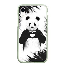 Чехол iPhone XR матовый Panda Love цвета 3D-салатовый — фото 1