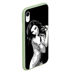 Чехол iPhone XR матовый Sexy Girl: Black & White цвета 3D-салатовый — фото 2