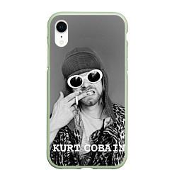 Чехол iPhone XR матовый Кобейн в очках цвета 3D-салатовый — фото 1