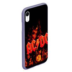Чехол iPhone XR матовый AC/DC Flame цвета 3D-серый — фото 2